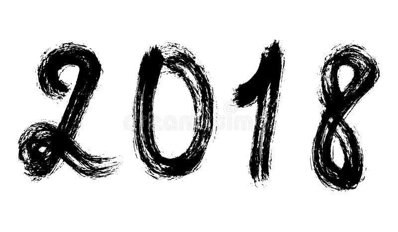 Letras dibujadas mano negra del número 2018 en el backgrou blanco del grunge ilustración del vector