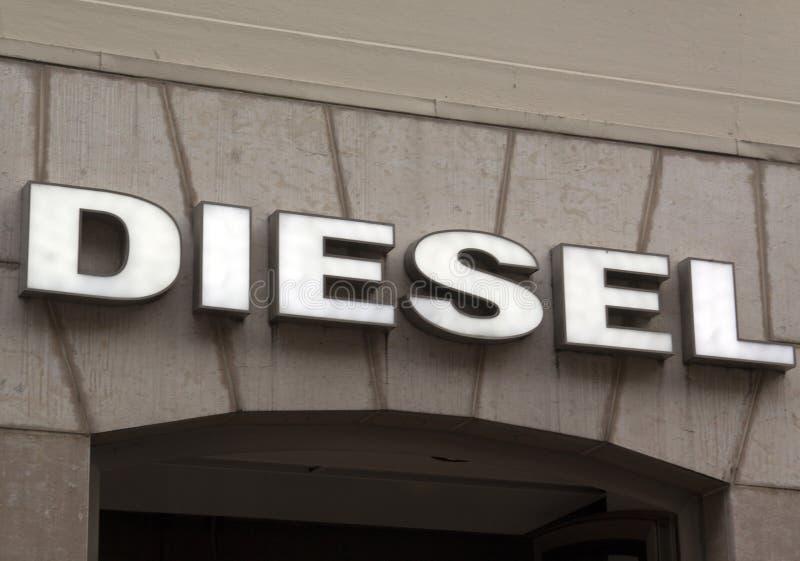 Letras diesel em uma fachada em Amsterdão fotografia de stock