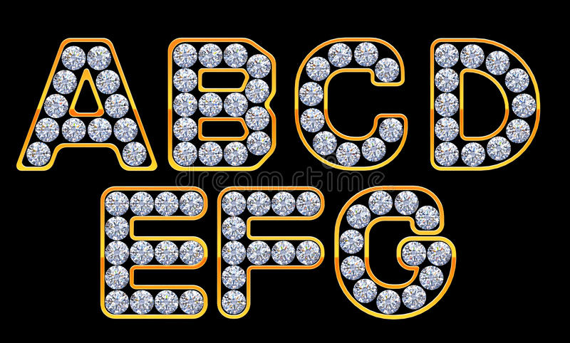 Letras do AG incrusted com diamantes ilustração stock