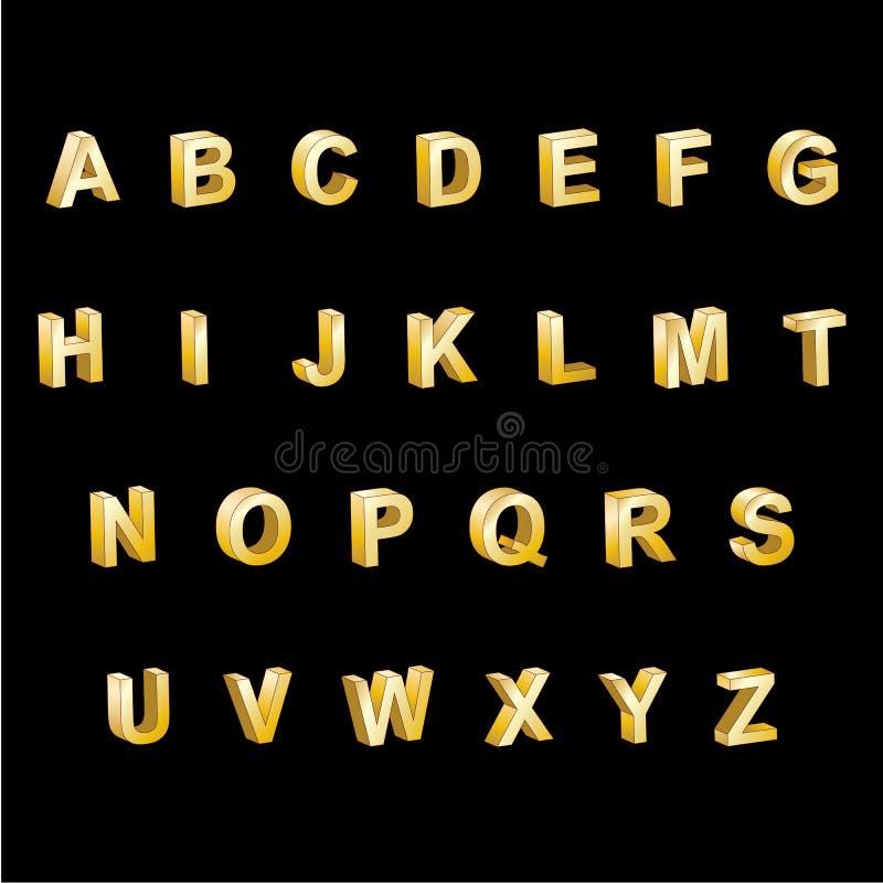 Letras do alfabeto 3D do ouro fotografia de stock