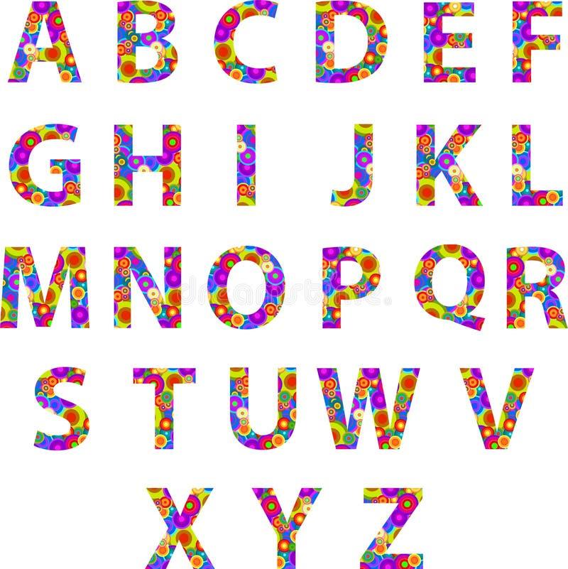 Letras do alfabeto com círculos retros do disco ilustração royalty free