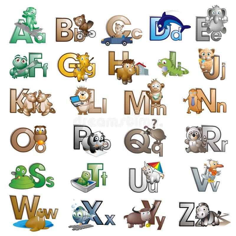 Letras do alfabeto com personagens de banda desenhada ilustração royalty free