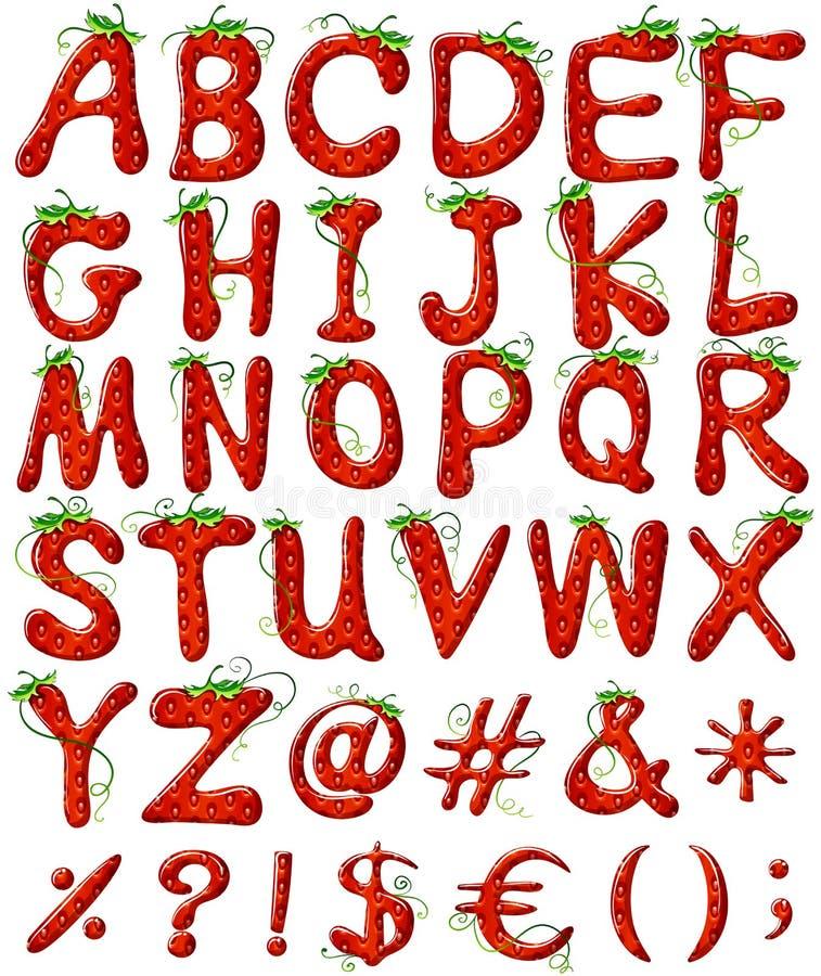 Letras do alfabeto com projeto da morango ilustração stock