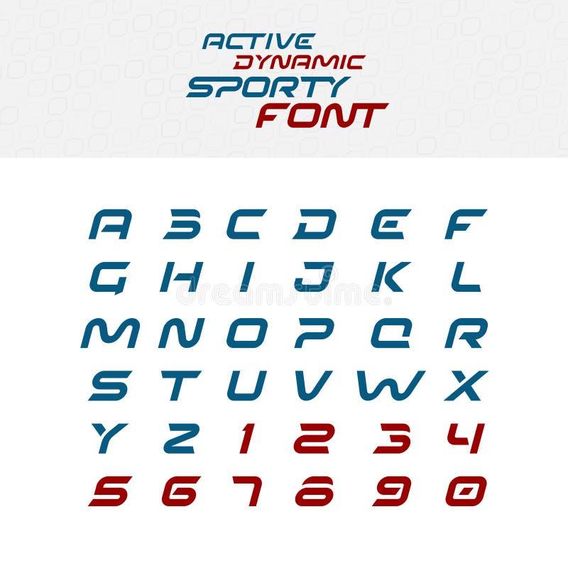 Letras do alfabeto da fonte do techno do esporte ilustração do vetor