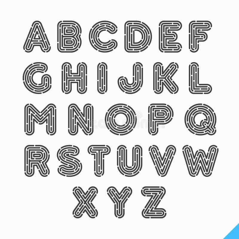 Letras do alfabeto da impressão digital ilustração stock