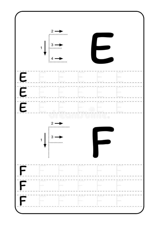 Letras do alfabeto de ABC que seguem a folha com letras do alfabeto Prática de escrita básica para o papel das crianças A4 do jar ilustração do vetor