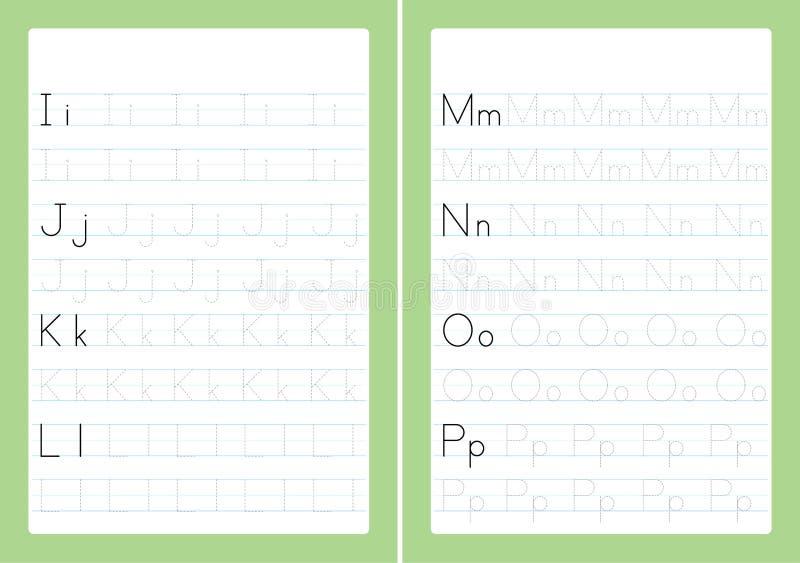 Letras do alfabeto de ABC que seguem a folha com letras do alfabeto Prática de escrita básica para o papel das crianças A4 do jar ilustração stock