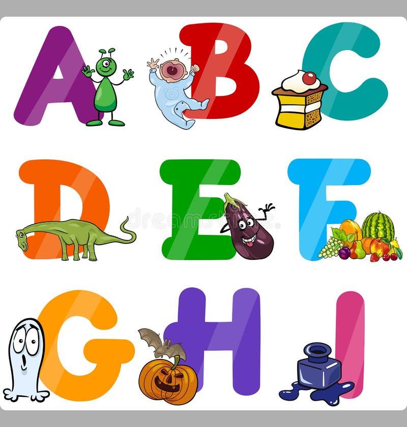 Letras do alfabeto dos desenhos animados da educação para crianças ilustração royalty free