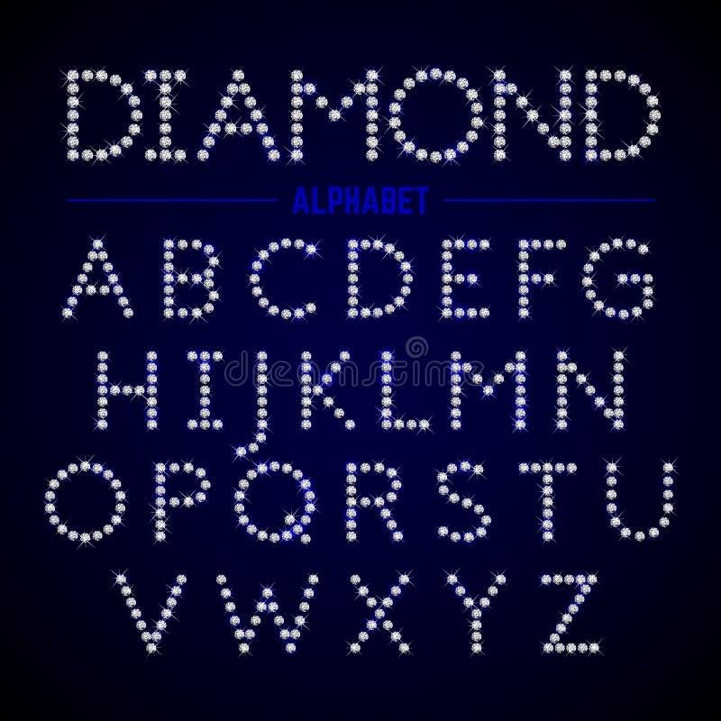Letras do alfabeto dos diamantes ilustração do vetor