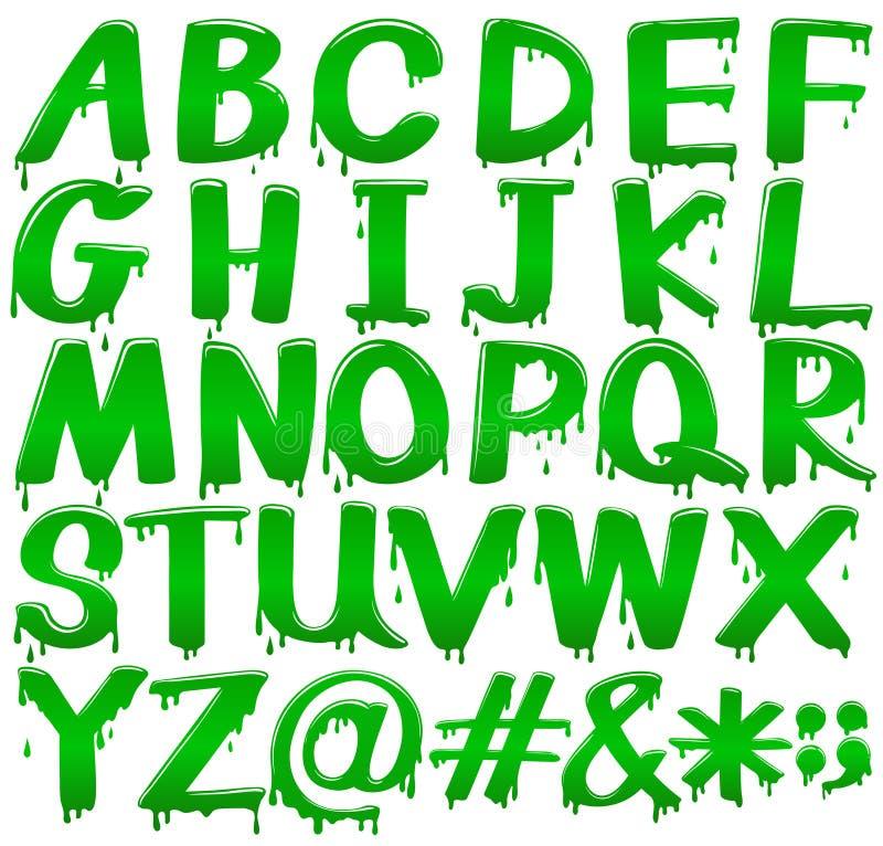 Letras do alfabeto em um molde verde de derretimento ilustração do vetor