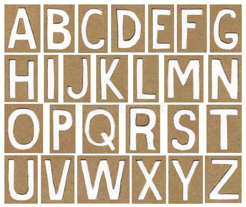Letras do alfabeto feitas do papel do cartão imagens de stock