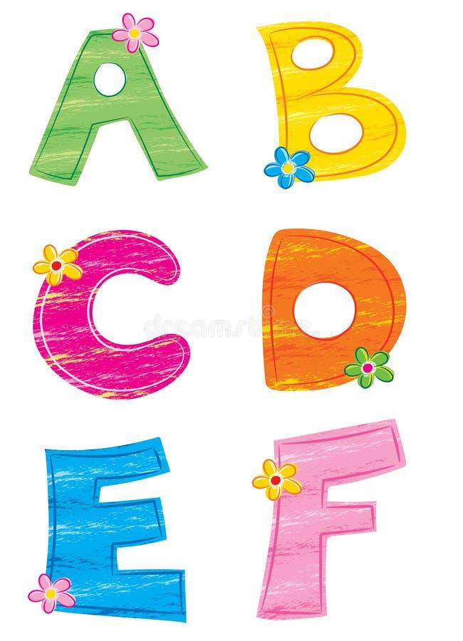 Letras do alfabeto 1, flor ilustração stock