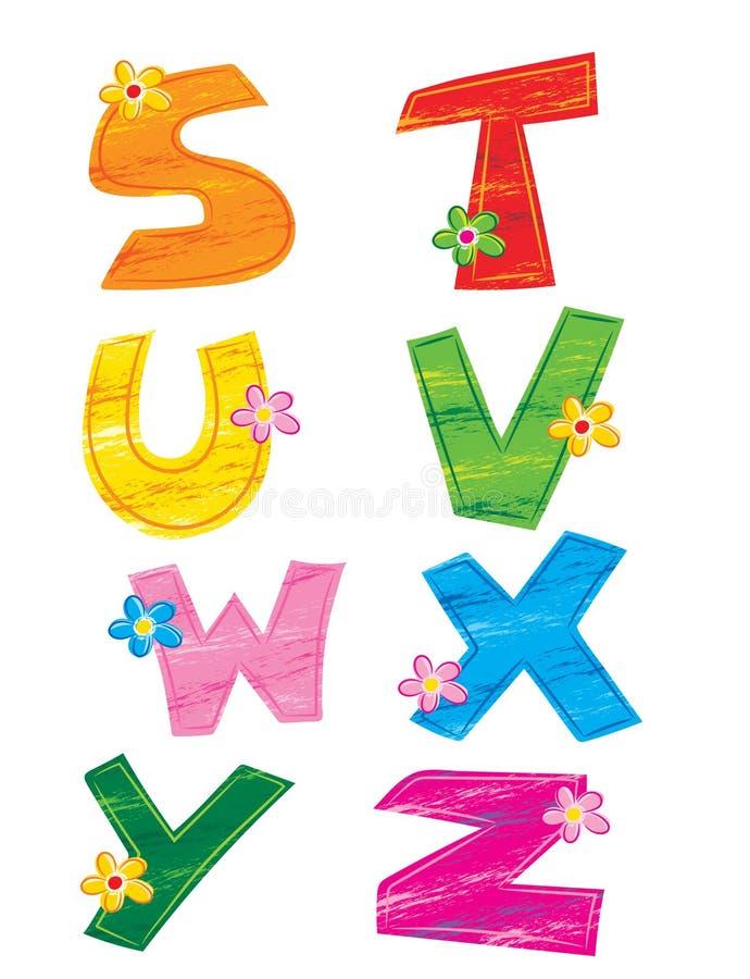 Letras do alfabeto 3, flor ilustração royalty free