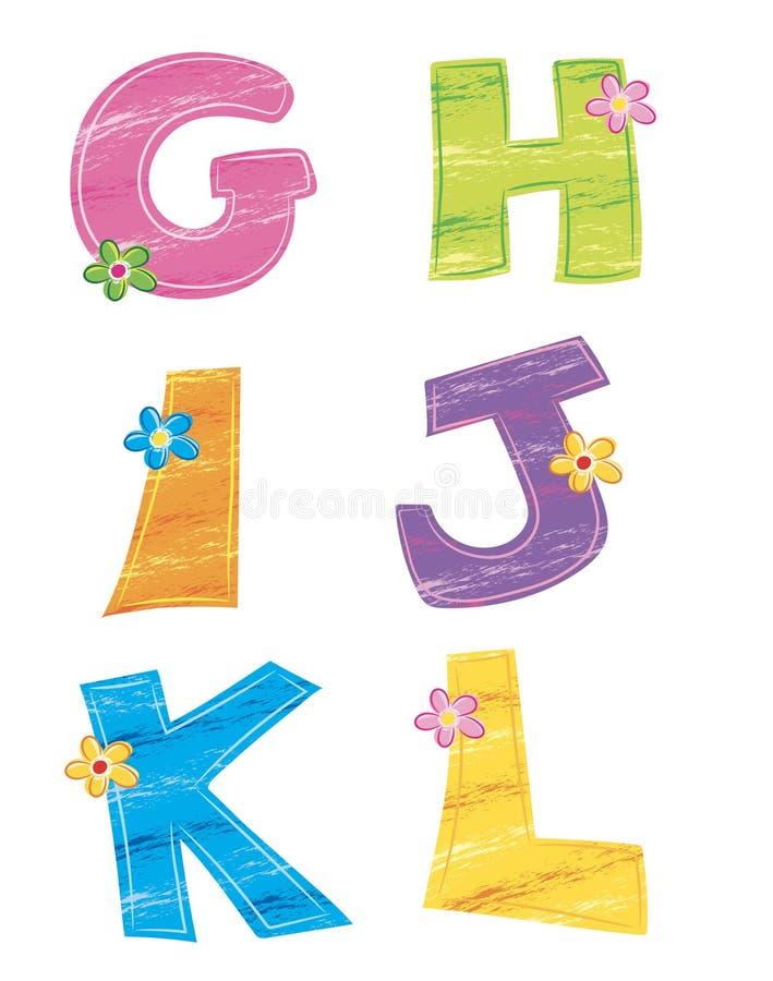Letras do alfabeto 4, flor ilustração royalty free