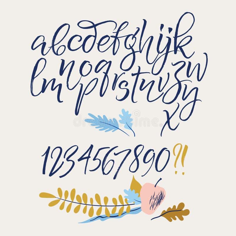 Letras do alfabeto: lowercase, caixa, números ilustração stock