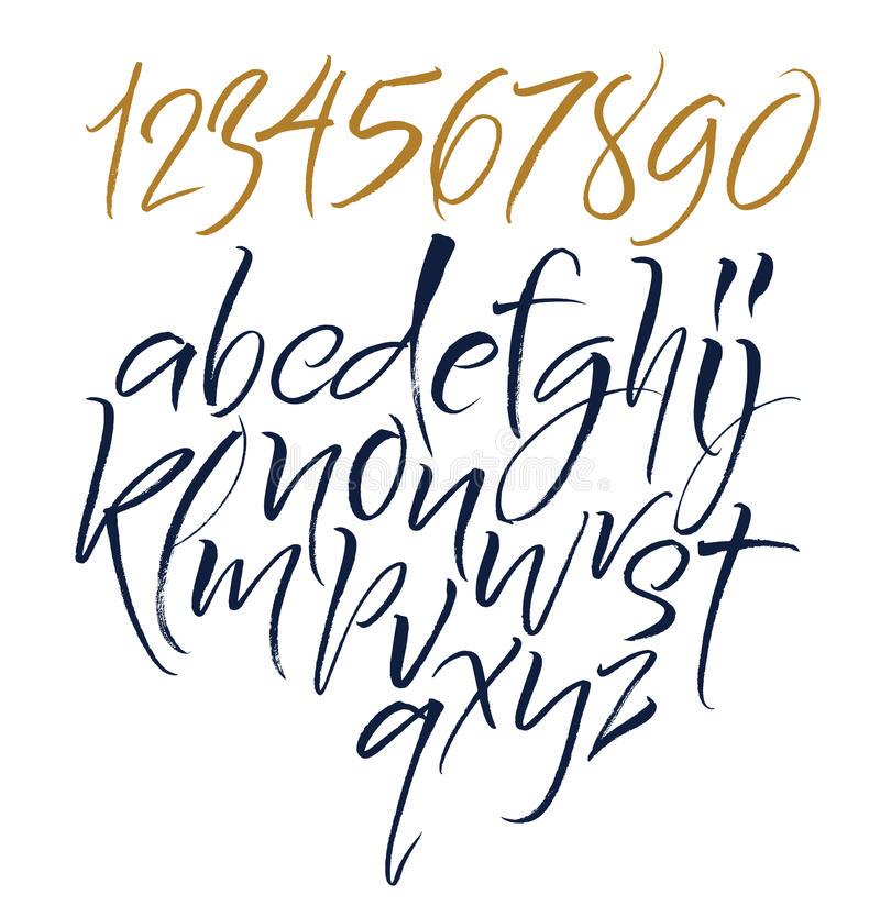 Letras do alfabeto: lowercase, caixa, números Alfabeto do vetor ilustração stock
