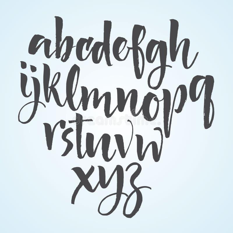 Letras do alfabeto: lowercase, caixa, números Alfabeto do vetor Letras desenhadas mão Letras do alfabeto escrito com um delicado ilustração stock