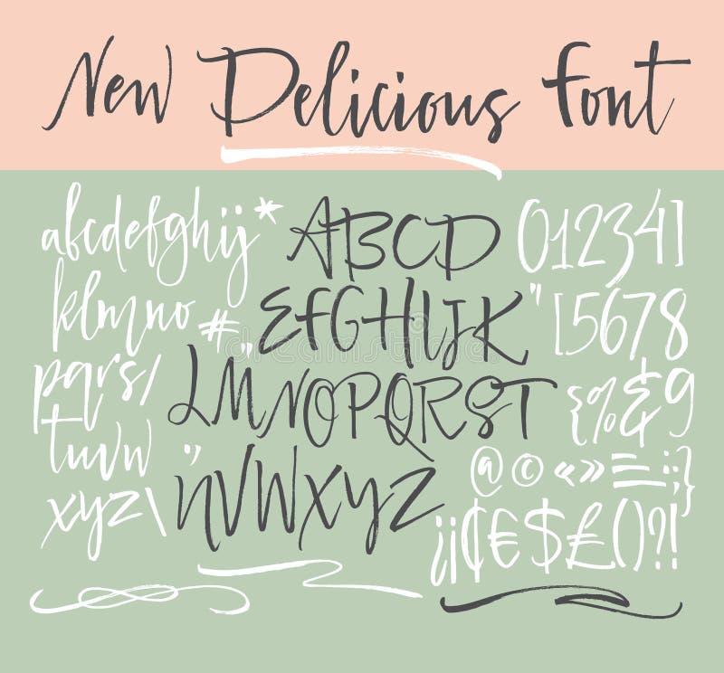 Letras do alfabeto: lowercase, caixa, números Alfabeto do vetor Letras desenhadas mão Letras do alfabeto escrito com um delicado ilustração do vetor