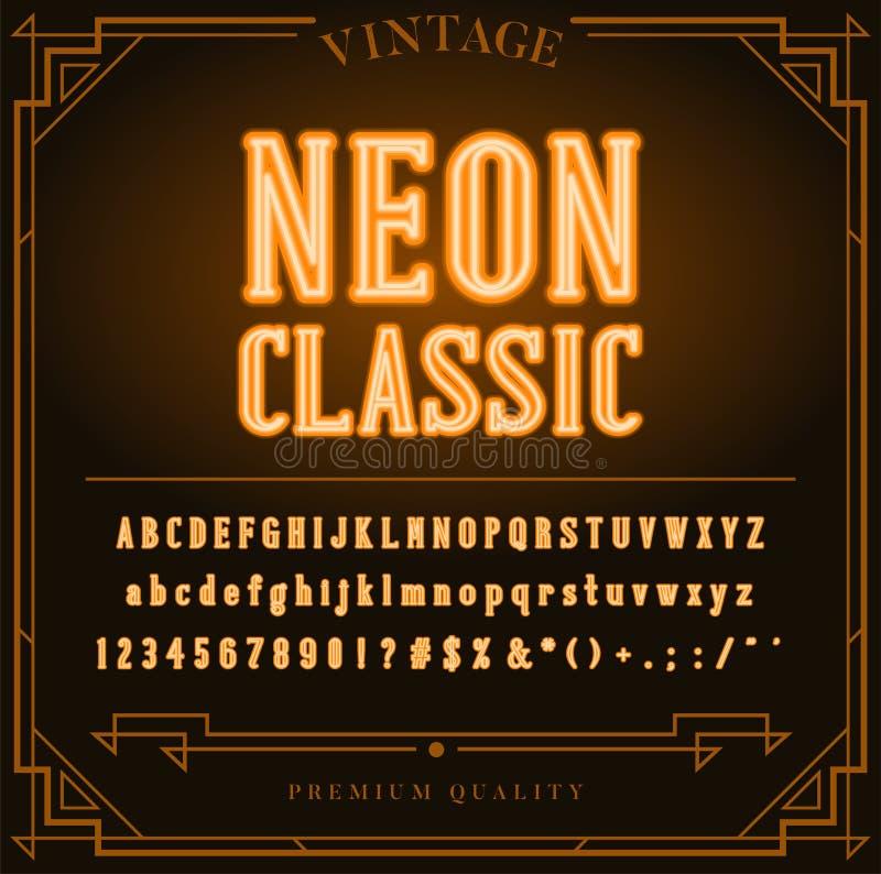 Letras do alfabeto, números e sinal de néon brilhantes dos símbolos ilustração royalty free