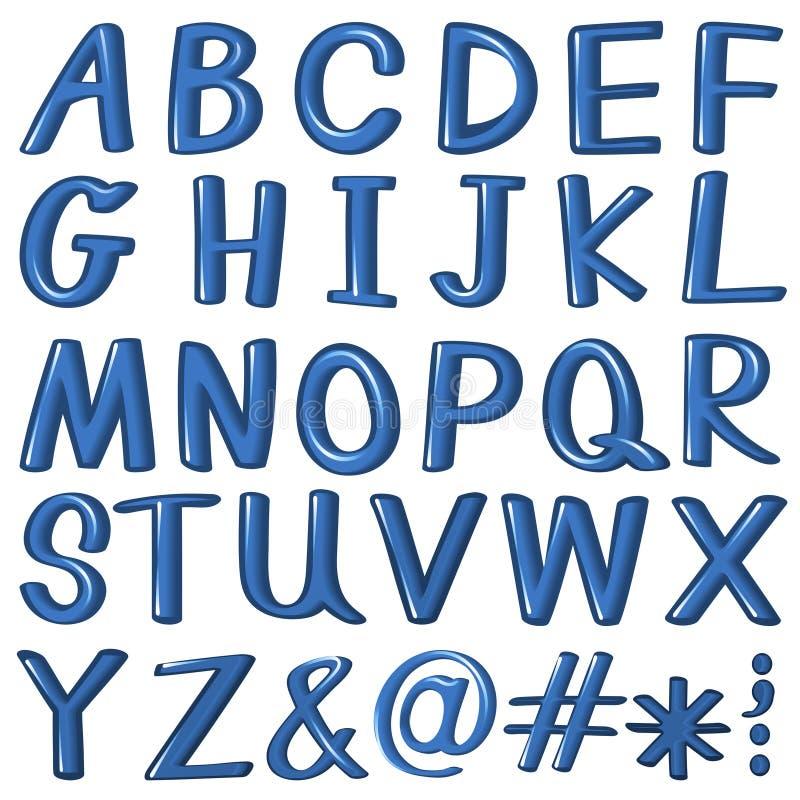 Letras do alfabeto na cor azul ilustração do vetor