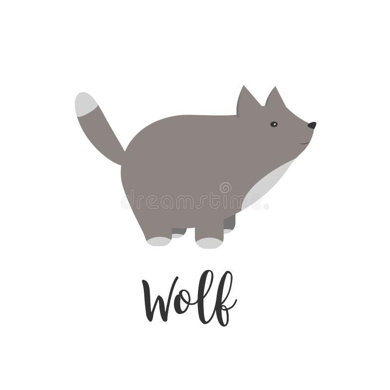 Letras do animal e da mão do bebê do vetor Cartão com lobo bonito Ilustração dos desenhos animados do vetor de animais do bebê lo ilustração do vetor
