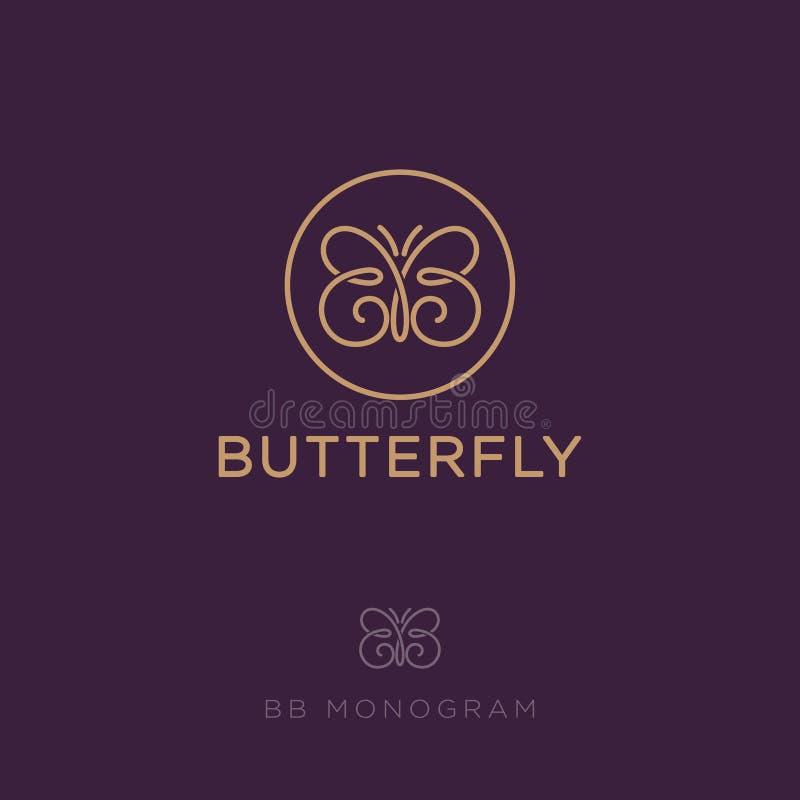 Letras do BB B dobro gosta de uma borboleta Ícone dos cosméticos fotografia de stock royalty free