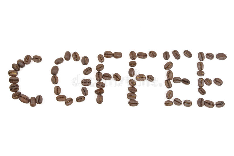 Letras do café feitas por feijões de café imagem de stock