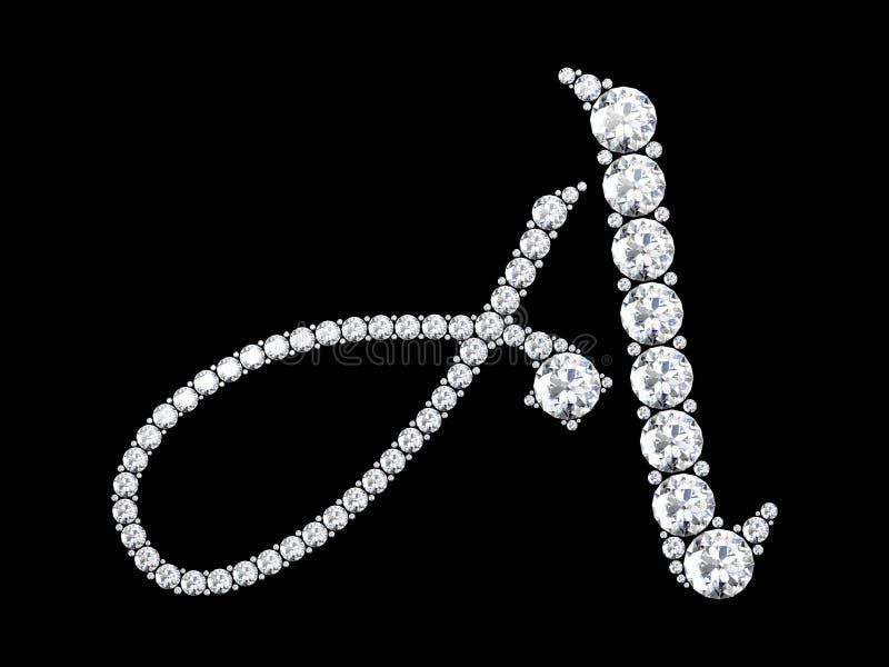 Letras do diamante com pedras preciosas ilustração stock
