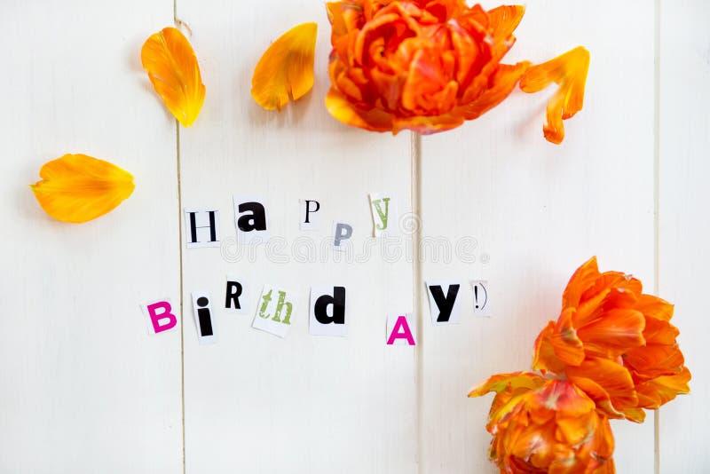 Letras do feliz aniversario imagens de stock
