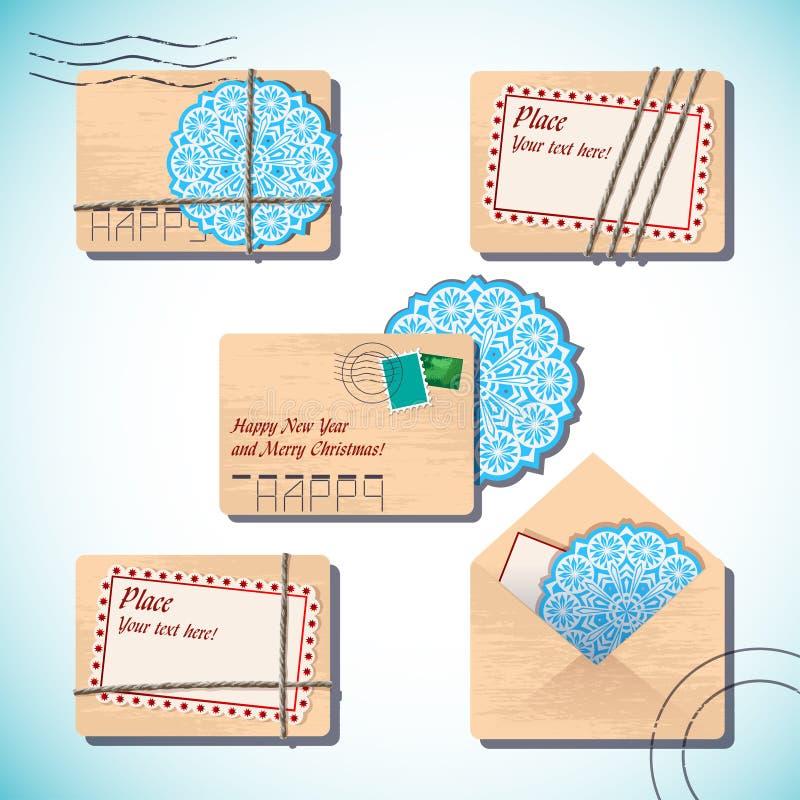 Letras do Natal e do ano novo nos envelopes ilustração royalty free