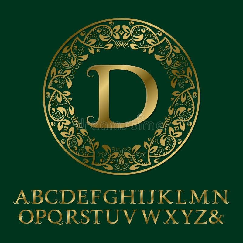 Letras do ouro das gavinhas com monograma da inicial de D Fonte barroco ilustração royalty free