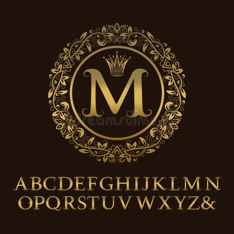 Letras do ouro das gavinhas com monograma da inicial de M ilustração do vetor