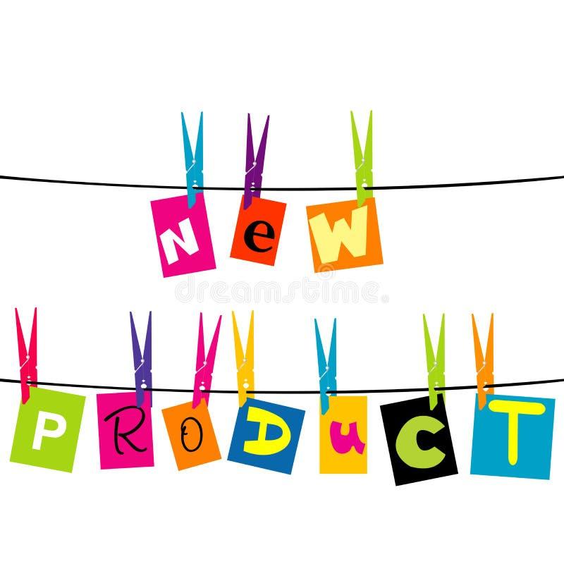 Letras do produto novo que penduram em uma corda ilustração stock