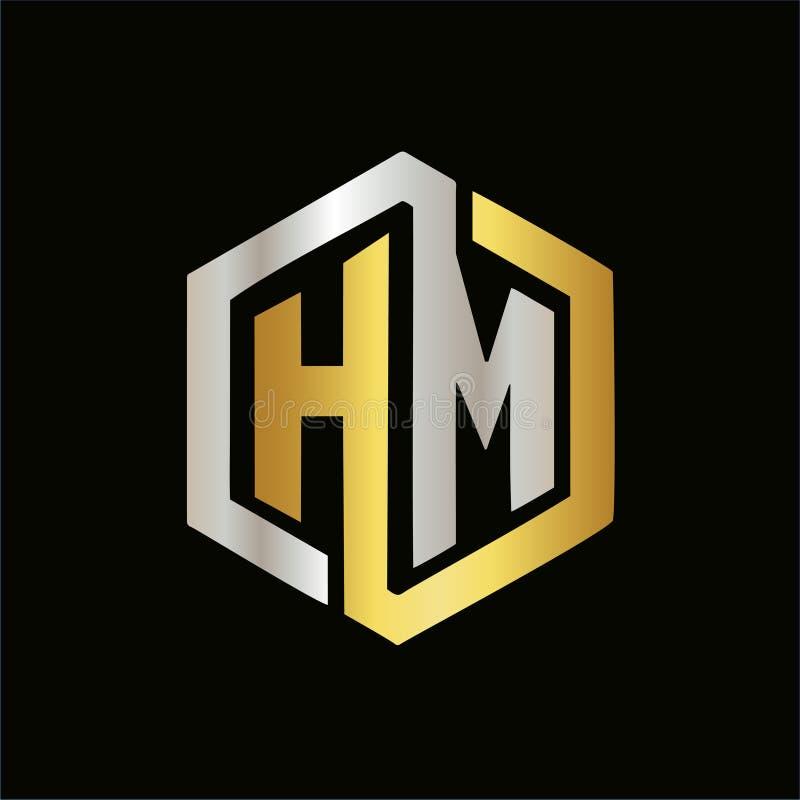 Letras do vetor de logotipos elegantes da cor do HM ilustração royalty free