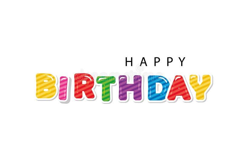 Letras dos desenhos animados do feliz aniversario Para cartazes, bandeiras, cartões, decoração da sala ilustração stock