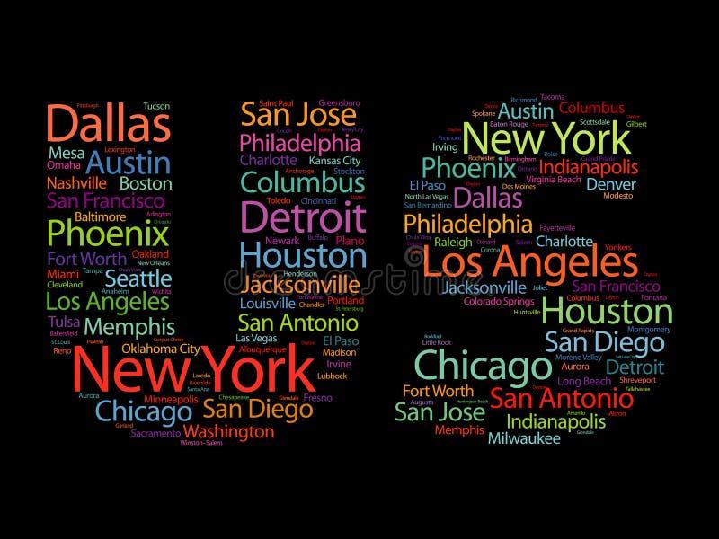 Letras dos E.U. com a nuvem das palavras dos nomes das cidades imagem de stock