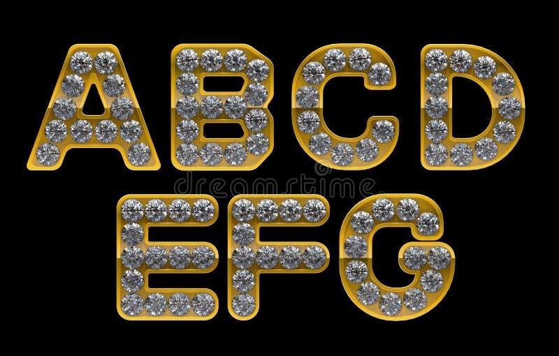 Letras douradas do AG incrusted com diamantes ilustração do vetor