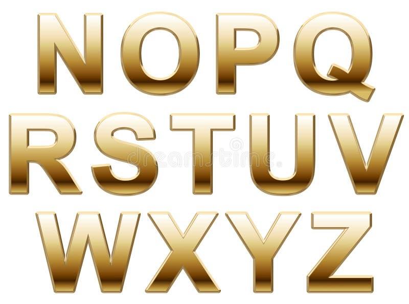 Letras douradas do alfabeto fotos de stock