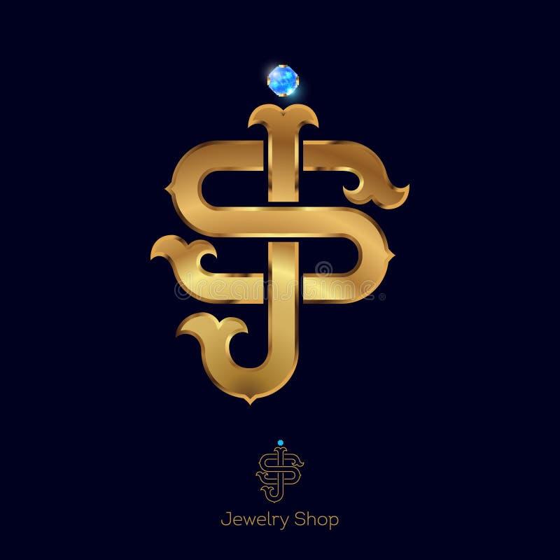 Letras douradas luxuosos do logotipo das iniciais S e do J Opção linear typography projeto de letra ilustração do vetor