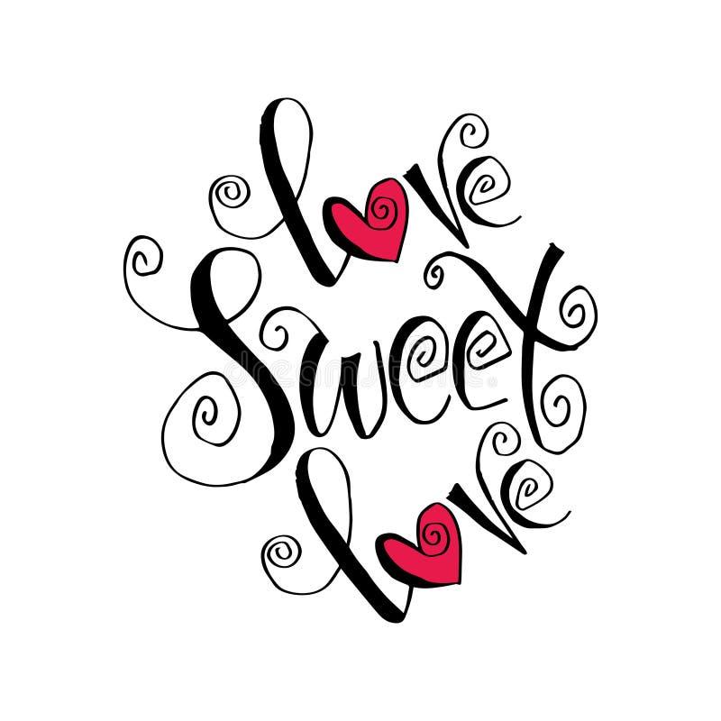 Letras dulces de la mano del amor del amor stock de ilustración