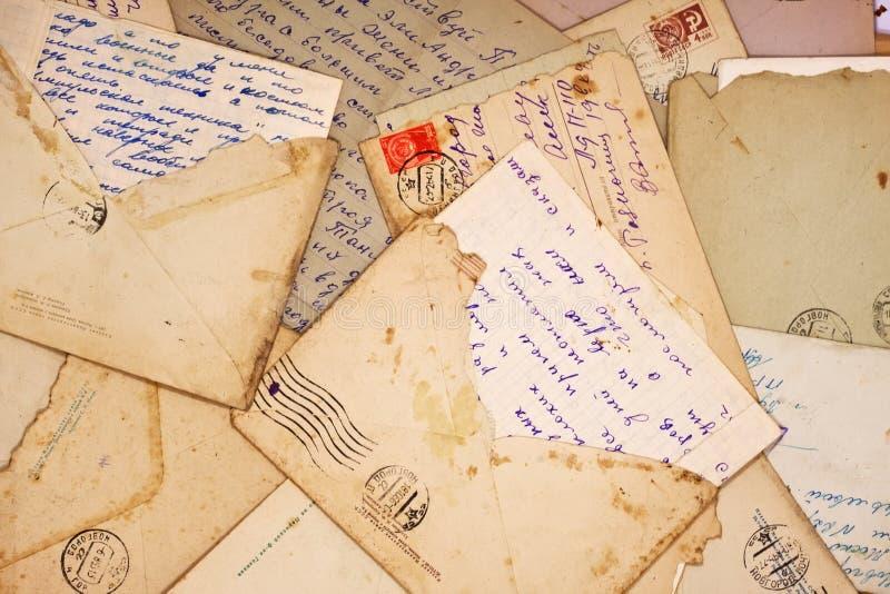 Letras e envelope velhos fotos de stock