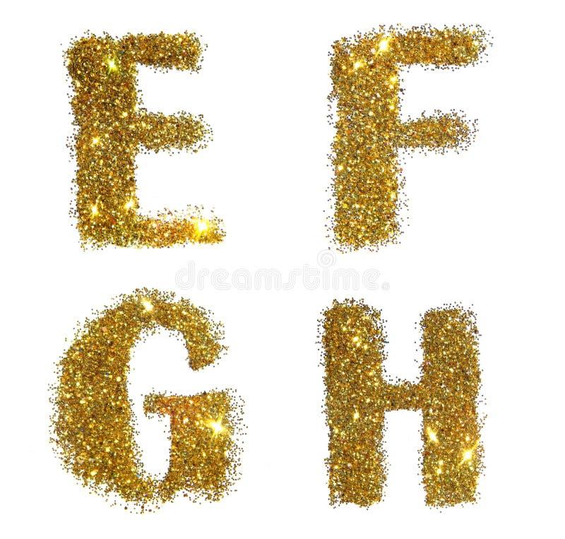 Letras E, F, G, H de la chispa de oro del brillo en el fondo blanco imagen de archivo