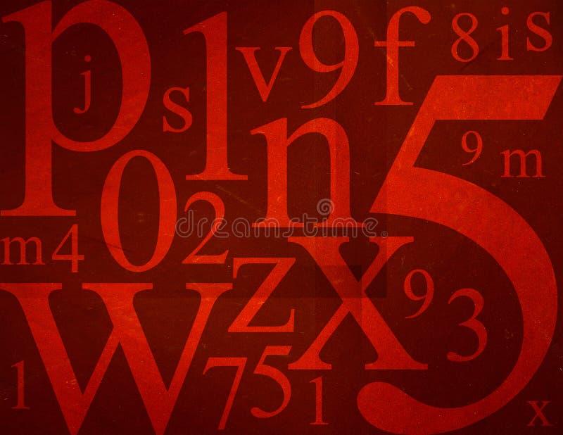 Letras e mistura dos números ilustração do vetor