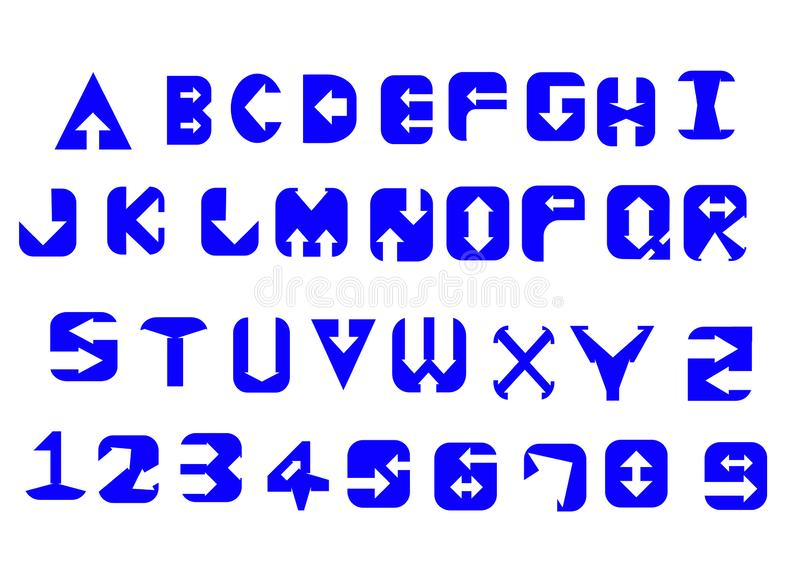 Letras e números do alfabeto no conceito do estilo da seta fotos de stock