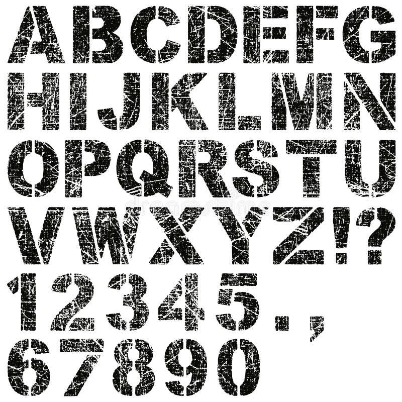 Letras e números do estêncil ilustração royalty free
