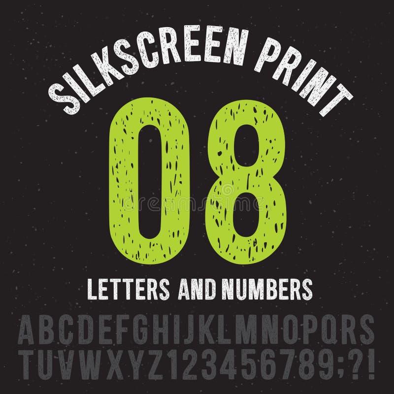 Letras e números do estilo da cópia do Silkscreen Grupo do vetor do alfabeto do grunge do vintage ilustração royalty free