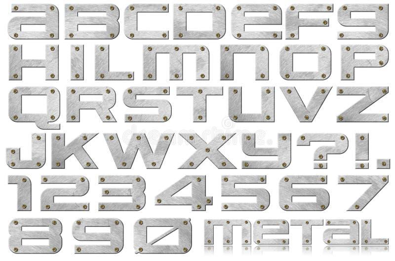 Letras e números do metal ilustração do vetor