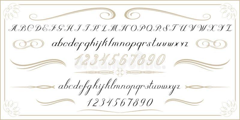 Letras e números escritos à mão velhos do ALFABETO ilustração stock