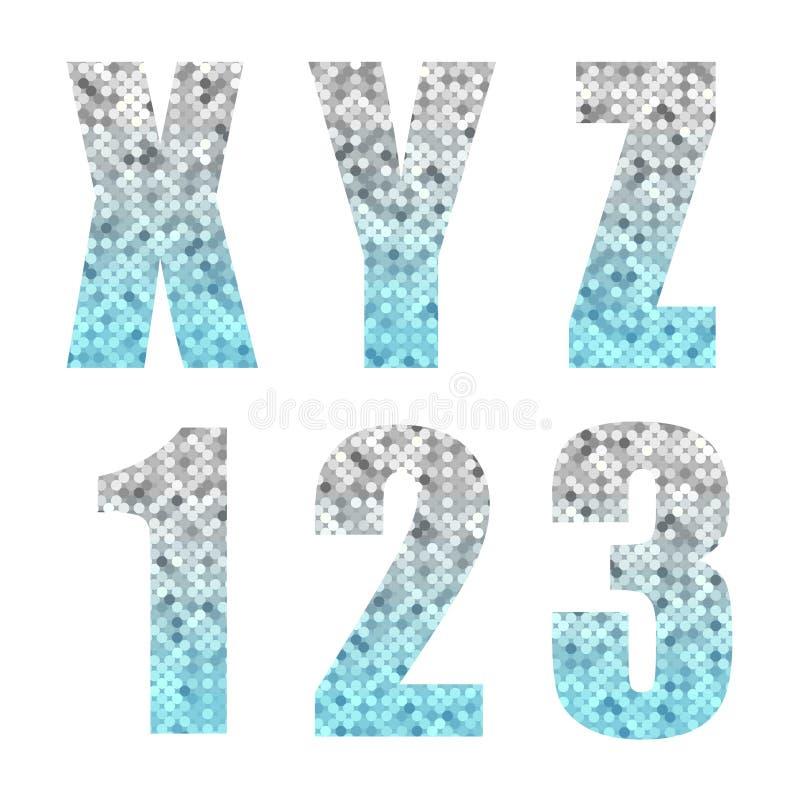 Letras e números na moda bonitos do alfabeto do brilho com prata ao ombre azul ilustração do vetor