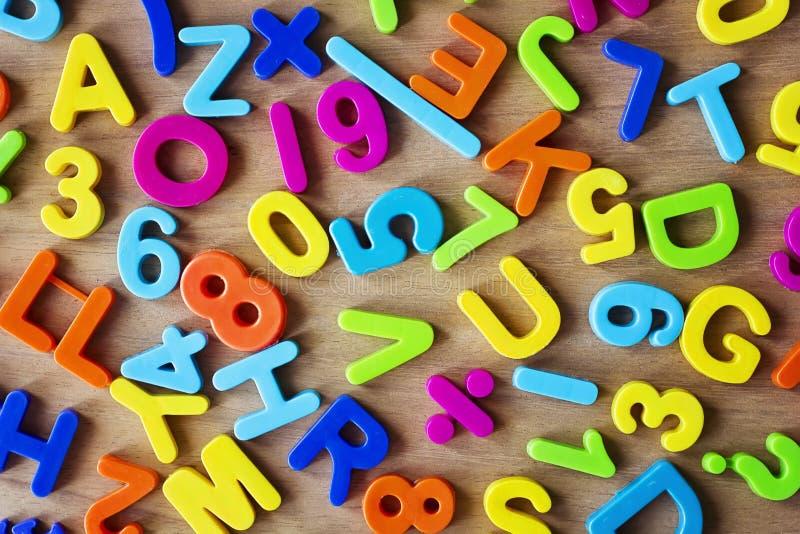 Letras e números nas cores foto de stock royalty free